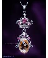 Crown Swarovski Crystal Necklace CHAMPAGNE PINK   - $13.99