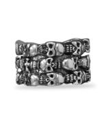 Triple Row Skulls Design Sterling Silver Ring - $239.99
