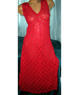 1X Red All Stretch Lace Long Nightgown Plus Siz... - $22.00