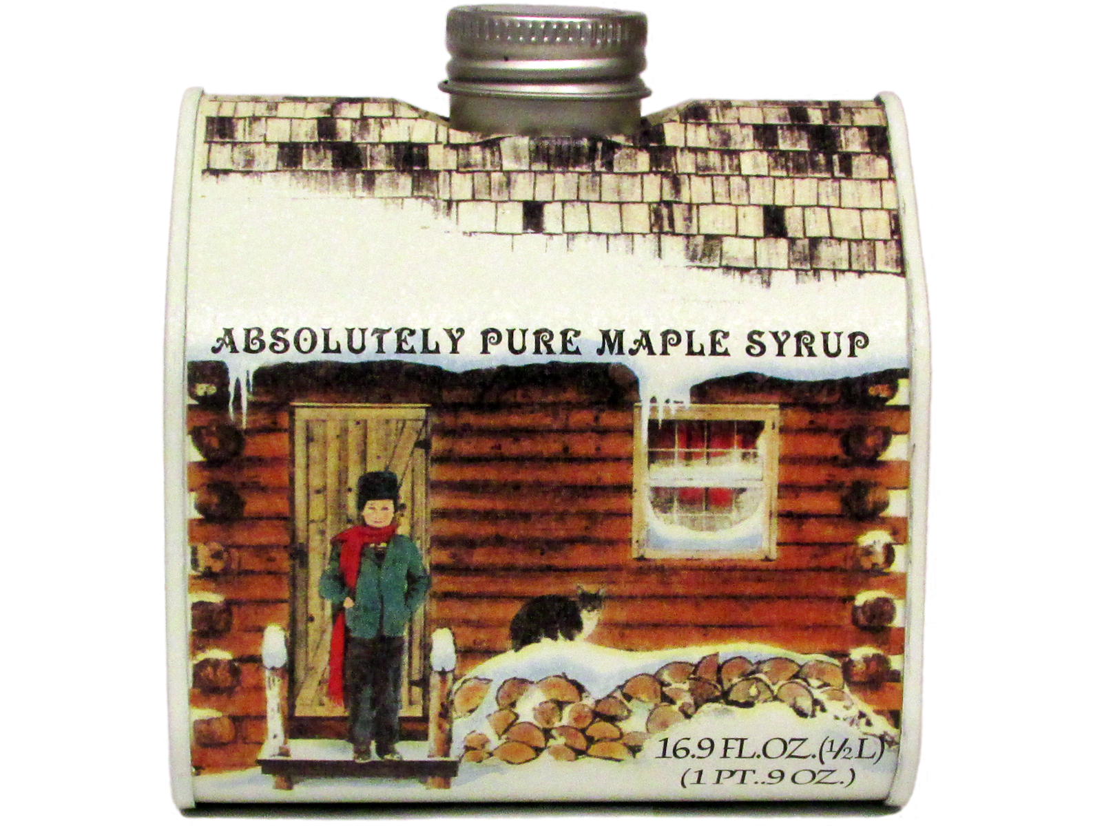 Wonderful image of  Syrup Grade A Medium Log Cabin Tin Pint Honey Syrup & Sweeteners with #AB3E20 color and 1600x1200 pixels