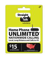 Straight Talk Wireless $15 Plan Home Phone refill prepaid card pin ( digital ) - $12.99