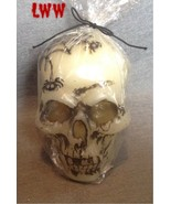 Halloween White Skull Candle 4.5 inch tall Spid... - $9.99