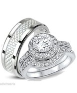 His & Hers 3 Piece Halo Cz Wedding Band Ring Se... - $49.99