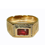 Baby Boys 18K Skillus Gold Ring with Red CZ, LE... - $34.99