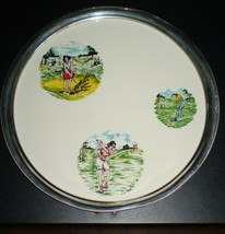 Vintage 1960's Revere Pewter Round Lady Golfers... - $12.59