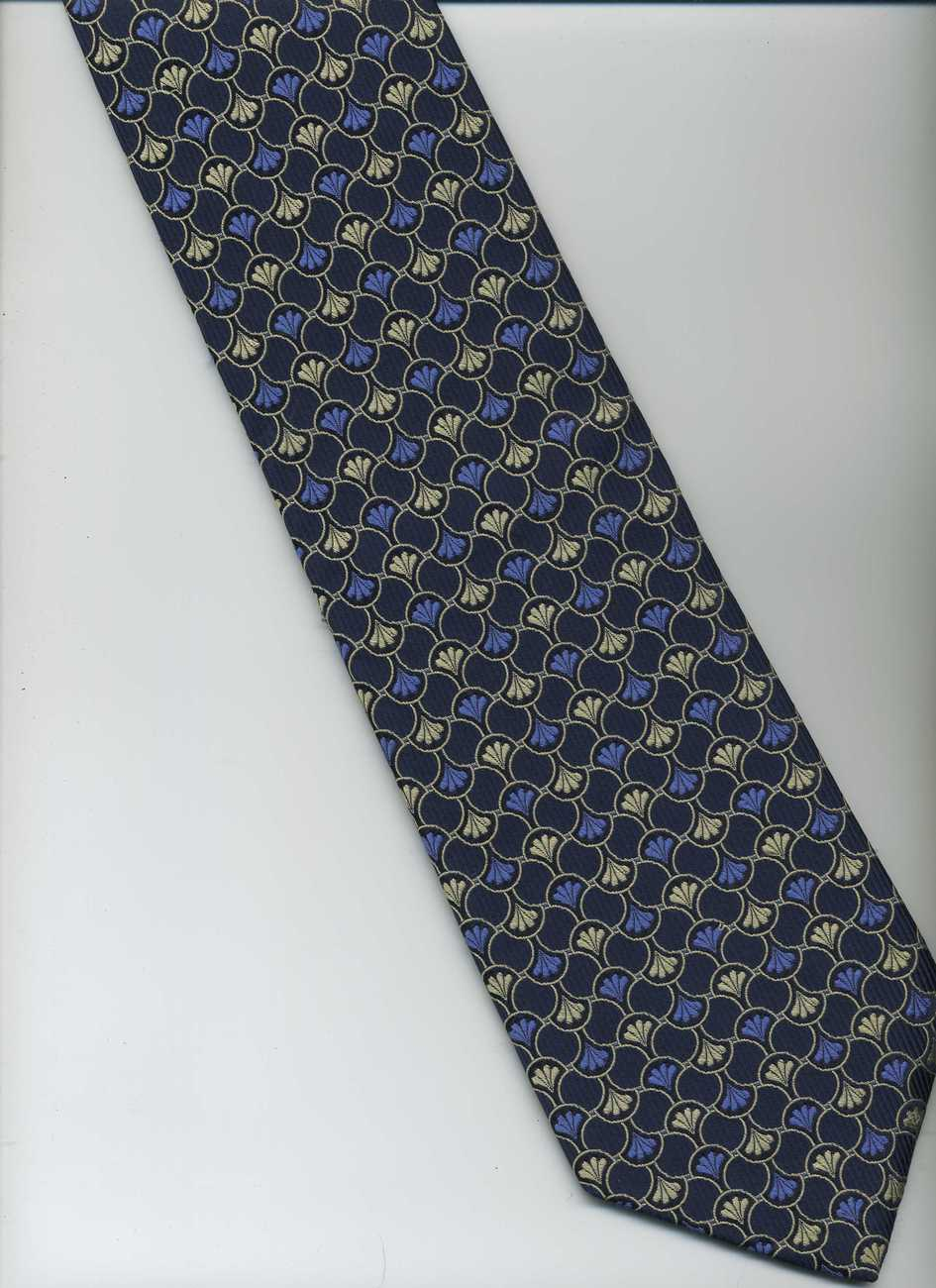 LANDS' END Tie ~ Dark Blue, Blue, White ~ Check Type Pattern Hand Sewn Silk Tie