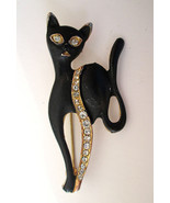 Vintage Black Cat Kitten Kitty Pin Brooch Gold ... - $11.87