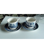 Churchill Blue Willow Tea Cups and Saucers Made... - $24.00