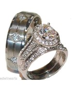 His & Hers 3 Piece Halo Cz Wedding Band Ring Se... - $39.99