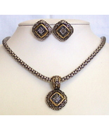 Gold-Silvertone Rhinestone Pendant Necklace Ear... - $8.00