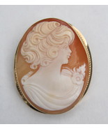 14K Gold Shell Cameo Brooch Pendant Maiden Youn... - $225.00