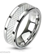 Men's White Fiber Inlay Stainless Steel Wedding... - $8.99
