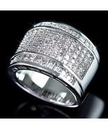 Mens 14K White Gold Fn Lab Diamond Infinity Wid... - $29.69