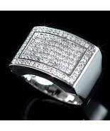 Mens White Gold Finish Lab Diamond 2 Square Hip... - $17.81