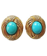 1980s Ciner Faux-Turquoise Cabochon Runway Cout... - $135.00