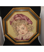 Vintage Framed Needlepoint Young Girl - $49.00