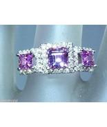 Three Stone Princess Cut Pink Sapphire Diamond ... - $1,399.41