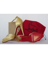 $695 AUTH Louboutin Domine Strass satin pumps 4... - $294.95