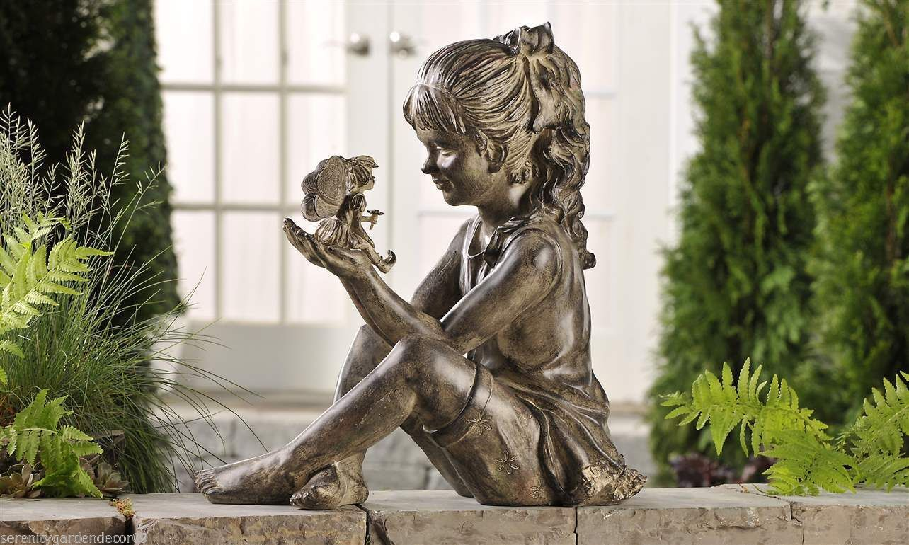 Large Garden Statue 17 X 17 Sitting Girl Holding Fairy