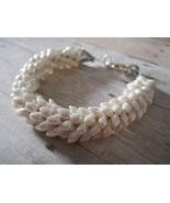 Kumihimo Bracelet, Pearly White Long Magatama B... - $29.00