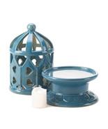 Blue Porcelain Lantern With LED Candle - $28.00