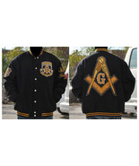 FREEMASON MASONIC MASON WOOL JACKET BLACK GOLD ... - $135.84