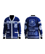 PHI BETA SIGMA CARDIGAN SWEATER BLUE WHITE HEAV... - $128.24