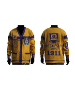 OMEGA PSI PHI CARDIGAN SWEATER GOLD Q-DOG HEAVY... - $121.83