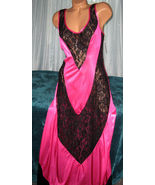 Nylon Long Nightgown Fuchsia with V Black Lace ... - $22.00