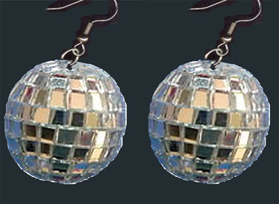 DISCO MIRROR BALL EARRINGS DJ Dance Party Jewelry 1 1 2 GIANT