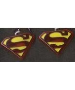 SUPERMAN LOGO EARRINGS-Fun Super Hero Comics Ch... - $4.97
