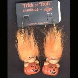 TROLL JACK-O-LANTERN EARRINGS-Halloween Pumpkin Funky Jewelry-OR
