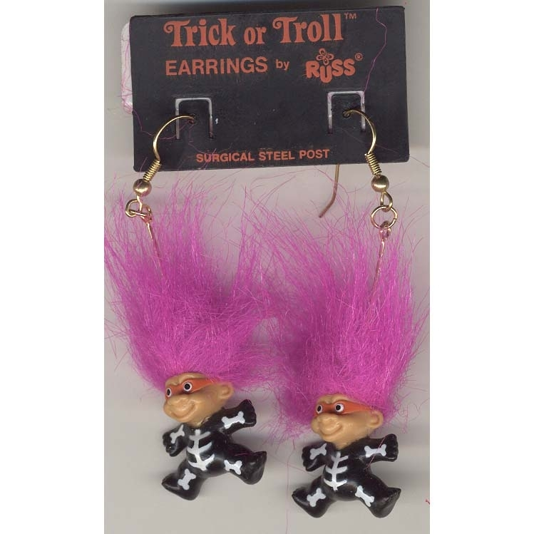 Russ Retro-TROLL DOLL SKELETON EARRINGS-Halloween Funky Costume Jewelry-PURPLE