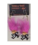 Russ Retro-TROLL DOLL SKELETON EARRINGS-Halloween Funky Costume Jewelry-PURPLE - $12.97