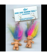 Russ Retired-TROLL DOLL EARRINGS-Tiny Retro Lucky Charm Funky Jewelry-RAINBOW