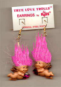 New Russ Retro-CUPID TROLL EARRINGS-Funky Valentine Novelty Costume Jewelry-PINK