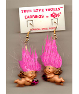 New Russ Retro-CUPID TROLL EARRINGS-Funky Valentine Novelty Costume Jewelry-PINK - $14.97