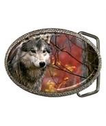 MAJESTIC GRAY WOLF BELT BUCKLE CHROME FINISH - $12.99