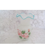 Cased Glass Ruffled Aqua Crest Vase Hand Painte... - $10.00