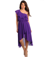 Sexy Juniors Hi-Lo Purple Chiffon One Shoulder ... - $29.99