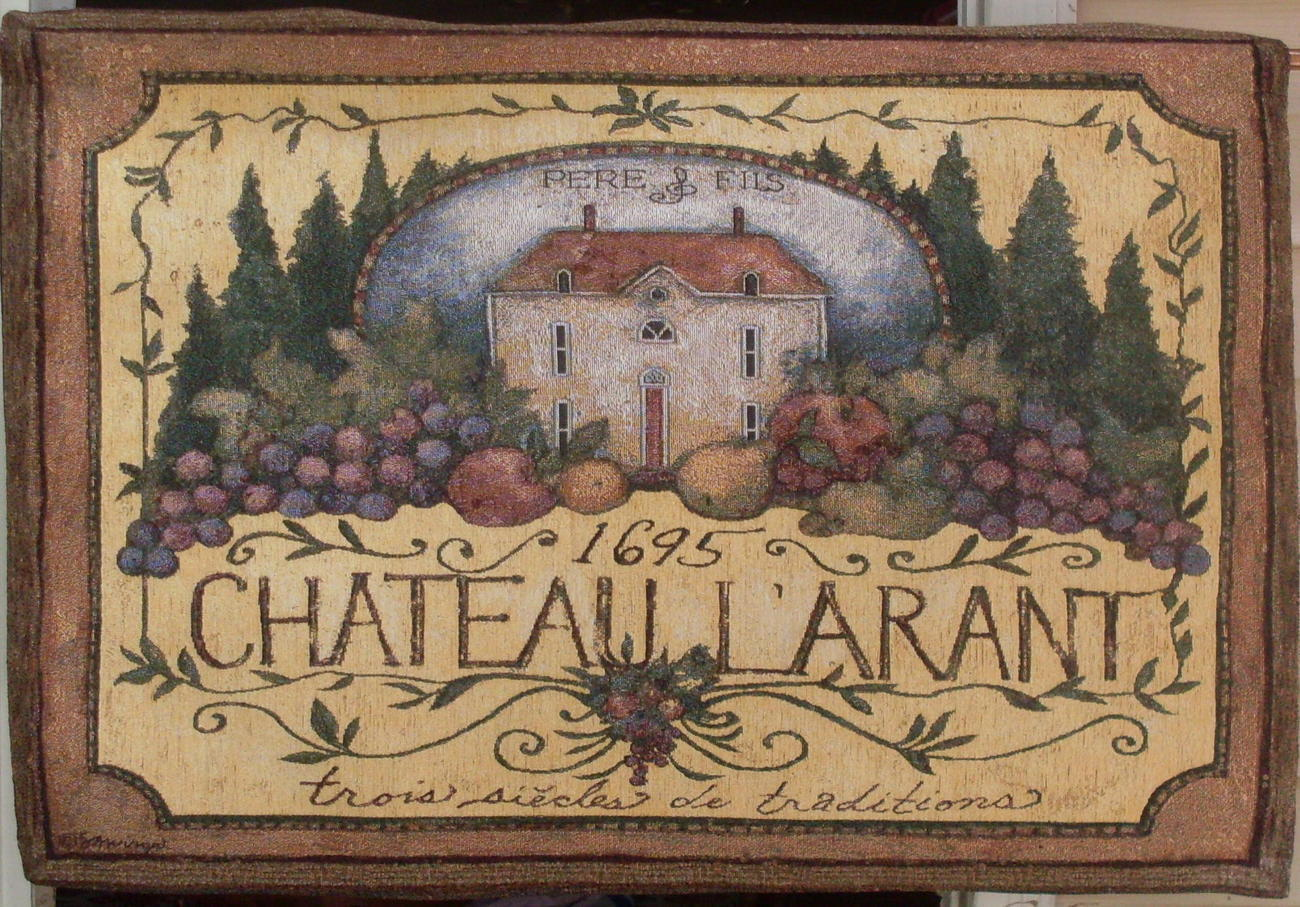 French Winery Chateau Wall Tapestry mauve brown green