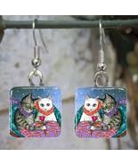 Handmade Glass Earrings square 20mm Cat 436 win... - $15.00