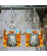 Handmade Glass Earrings square 20mm Cat 441 fal... - $15.00