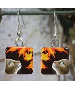 Handmade Glass Earrings square 20mm Cat 442 fal... - $15.00