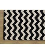 Hand Tufted Chevron Zig Zag Black 5' x 8' Conte... - $211.65