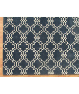 Moroccan Scroll Tile Carbon Blue 5' x 8' Handma... - $211.65