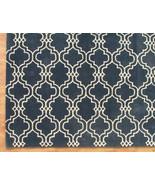 Moroccan Scroll Tile Carbon Blue 4' x 6' Handma... - $169.15