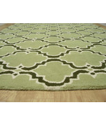 FRENCH ACCENT SCROLL TILE GREEN 4' x 6' HANDMAD... - $169.15
