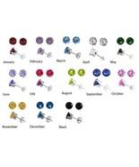 Birthstone Earrings   Silver  3.1 mm CZ Stud 12... - $33.31