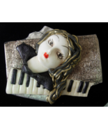 Vintage Lady Face and Piano Keyboard Brooch - P... - $6.00